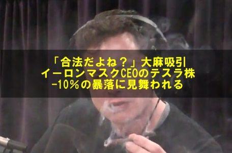 イーロンマスクCEOが番組放送中に大麻吸引!テスラの株価が大幅下落!